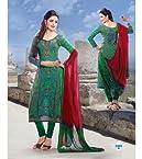 Cotton Machine Embroidery Work Green Semi Stitched Anarkali Suit - 515-3303B