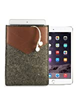 Gogappa 10 inch Felt Pouch Case Cover For iPad Air With Pocket (Grey+Brown)