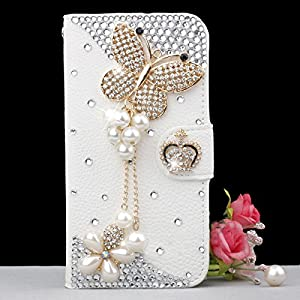 Luxury 3D Bow Fashion Bling Diamond Flower Crown Mirror Tower Ballet Girl Butterfly PU Flip Leather Case Cover For Smart Mobile Phones Butterfly/Samsung Galaxy Grand 2 G7102 G7106