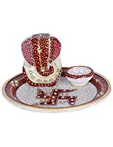 Creative Creations Marble Ganesh Laxmi Aarti Plate ( 19 cm x 19 cm x 6.5 cm, White )