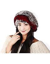 Winter Women's Rex Rabbit Fur Beret Hats with Fur Flower (Grey & Red)