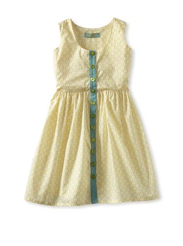 Zolima Girl's Button-Up Dress (Retro Sunflower)