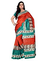 Vibes Women's Bhagalpuri Art Silk Saree With Blouse (S55-1306A_Red Colour)