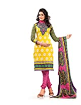Florence Yellow Printed Cotton Suit (SB-1427_Yellow)