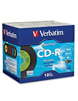 Verbatim 700MB 52x 80 Minute Digital Vinyl Recordable Disc CD-R, 10-Disc Slim Jewel Case 94439