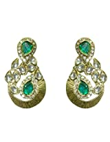 Kshitij Jewels Gold Green Metal Dangle & Drop Earrings For Women (KJ 037)