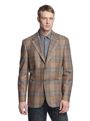 Maker & Company Men's Plaid Two-Button Blazer (Brown)