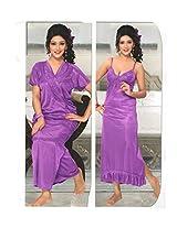 Indiatrendzs Women's Sexy Hot Nighty Purple 2pc Set Bedroom Sleepwear Freesize