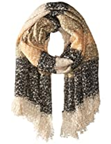 La Fiorentina Women's Oversized Soft Knit Striped Scarf, Orange/Olive, One Size