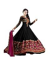 Livaaz Womens Brocade & Georgette Brocade Anarkali Dress Material (Sf100893 _Black _Xx-Large)