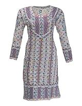 Imperial Chikan Women's Cotton Regular Fit Kurti (1028, White, 42)