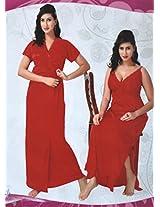 Indiatrendzs Womens Silk Satin 2pc set Nighty Venetian red Sexy Evening wear freesize