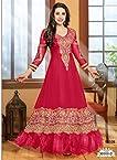 FabFirki Latest Long Length Dark Pink Anarkali Suits