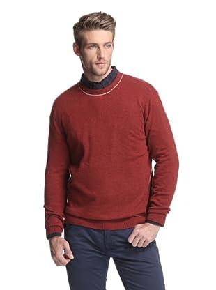 Kokun Men's Tipped Crewneck Sweater (Brick/Dark Grey)
