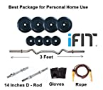 i-FIT 12Kg Weight Lifting Home Gym Set + 3Ft Curl Rod + 2 Dumbles Rod