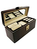 Cherrylite Jewellery/ Accessories Box Wooden Brown Colour Premium Leatherette With Mirror, 3 Trays & One Clasp Lock