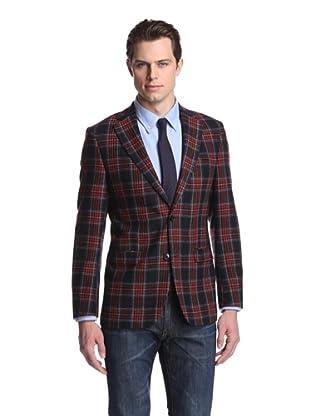 Simon Spurr Men's Tartan Tweed 2-Button Sportcoat (Red/Navy)