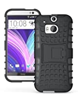 JKase DIABLO Tough Rugged Dual Layer Protection Case Cover with Build in Stand for HTC M8 - Black