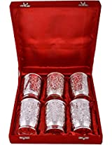 Jaipur Trade Silver-Plated Tumbler, 250 ml, Set of 6, Silver (JPGS119)