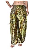 Famacart Women Printed Harem Pant Free Size Green summer trouser