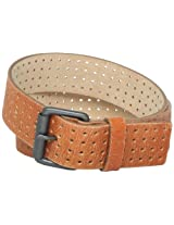 7 for All Mankind Men's Perforated Belt, Orange, 38