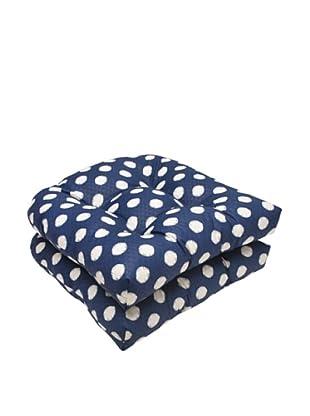 Waverly Sun-n-Shade Set of 2 Solar Spot Pool Wicker Seat Cushions (Navy/Cream)