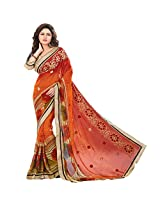 Sonal Trendz Orange Color Printed & Embroidered Weightless Saree