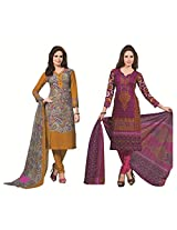 Rajnandini Combo of cotton Printed Unstitched salwar suit Dress Material (yellow & maroon _Free Size)
