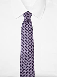 Aquascutum Men's Mini Paisley Silk Tie (Purple/Navy)