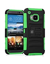 HTC One M9 Case - KAYSCASE Heavy-Duty Belt Clip Dual-layer ArmorHolster Hybrid Cover Case for the HTC One M9 Smart Phone 2015 Version (Green)