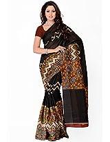 Cotton Bazaar Black Colored Silk Printed Saree Cotton Bazaar