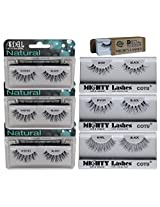 6 Pairs Combo Bundle of Ardell Professional WISPIES (3 pair) + Mighty Lashes by COTU (R) DW (1 pair), WSP (1 pair) & 747L (1 pair) - 100% Human Hair False Eyelashes