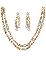 Classique Designer Silver Alloy With Gold Plated Oval Pearl Necklace Set For Women(CP197)