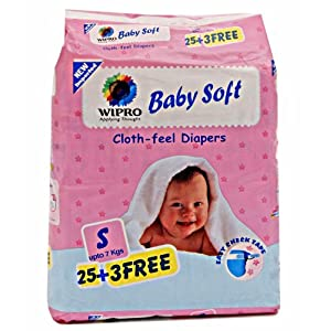 Wipro Baby Soft Cloth Feel Diapers Small - 28 Pieces