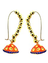 Kshitij Jewels Gold Plated Jhumki Earringss for Wedding & Engagement Use, With Meenakari Theme and Designer Collection
