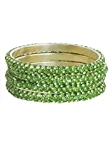 DollsofIndia Four Light Green Stone Studded Bangles - Stone and Metal - Green