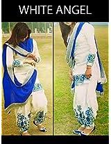 Shree Fashion Woman's Cotton With Dupatta [Shree (9)_White]