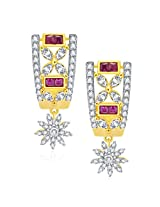 Sukkhi Wondrous Gold And Rhodium Plated Ruby CZ Earrings For Women