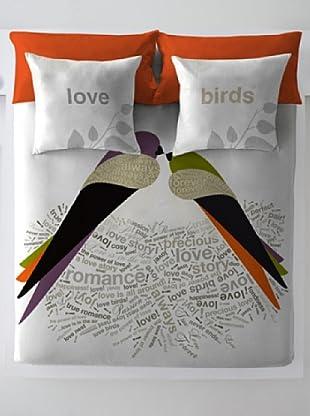 Wild About Words Juego de Funda Nórdica Birds Life 2 (Blanco / Naranja)