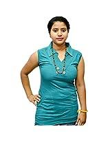 Odishabazaar Women's Cotton Green T-shirt S