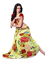 Roop Kashish Georgette & Satin Saree (6208 _Yellow Red)