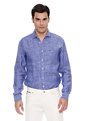 Pedro del Hierro Camisa Lino Liso (Azul Medio)
