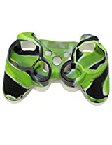 Stong Silicon Protective Case Cover For Sony Playstation Ps3 Wireless Remote Controller Green + Black