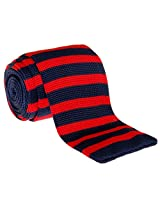 "Retreez Casual Modern Classic Stripes Men's 2.4"" Skinny Knit Tie - Navy Blue and Red Stripes"