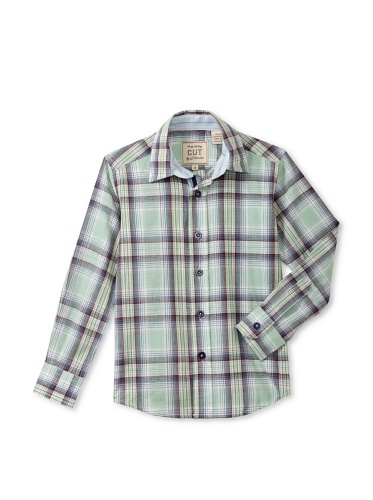 CUT By 2 Blondes Boys Tag You're It Long-Sleeve Button-Up (Green/Blue)
