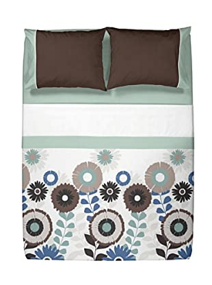 Casual Textil Juego de Sábanas Flowery (Azul)