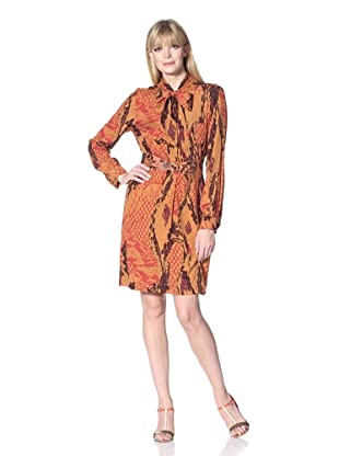 Hale Bob Women's Snake Print Shirt Dress with Neck Tie (Orange)