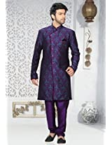 Purple and Aqua Blue Art Silk Jacquard Readymade Indo Western Suit