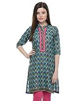 MYRA Green Cotton Kurti For Women MYRA059