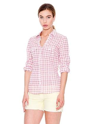 Mango Camisa Tara (Blanco / Rosa)